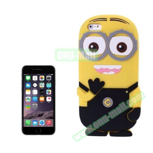 3D Despicable Me II Minions Style Cute Silicone Case for iPhone 6 4.7 inch (Black)