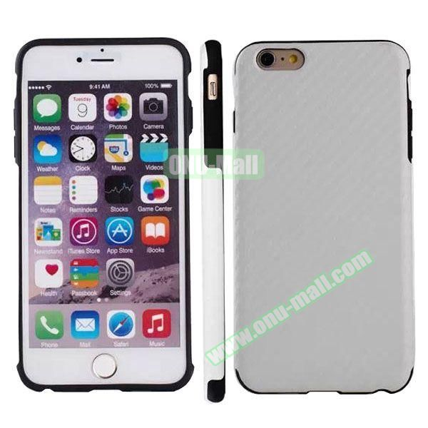 Carbon Fiber Texture Leather Coated TPU Protective Hybrid Case for iPhone 6 4.7 (White)