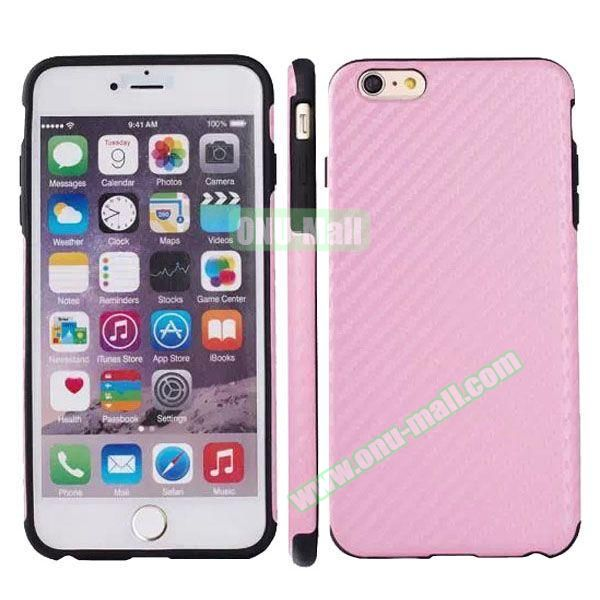 Carbon Fiber Texture Leather Coated TPU Protective Hybrid Case for iPhone 6 4.7 (Pink)