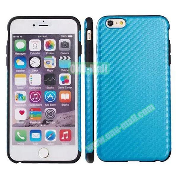 Carbon Fiber Texture Leather Coated TPU Protective Hybrid Case for iPhone 6 4.7 (Light Blue)