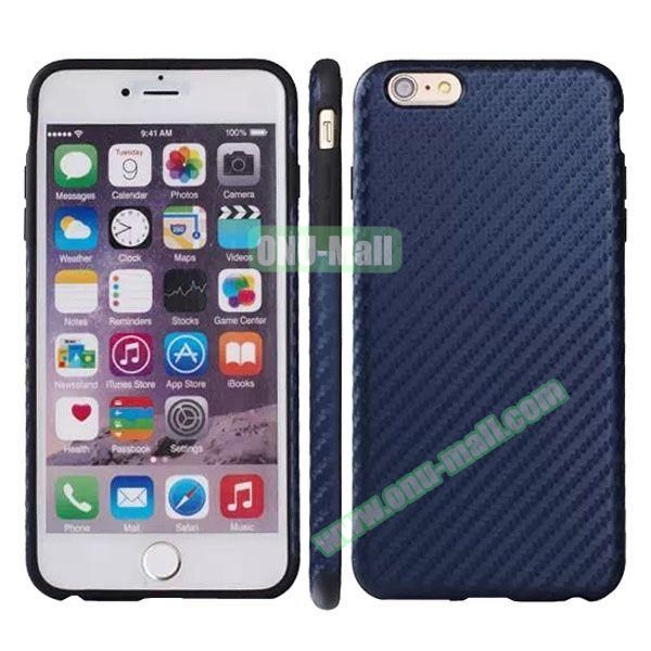 Carbon Fiber Texture Leather Coated TPU Protective Hybrid Case for iPhone 6 4.7 (Dark Blue)