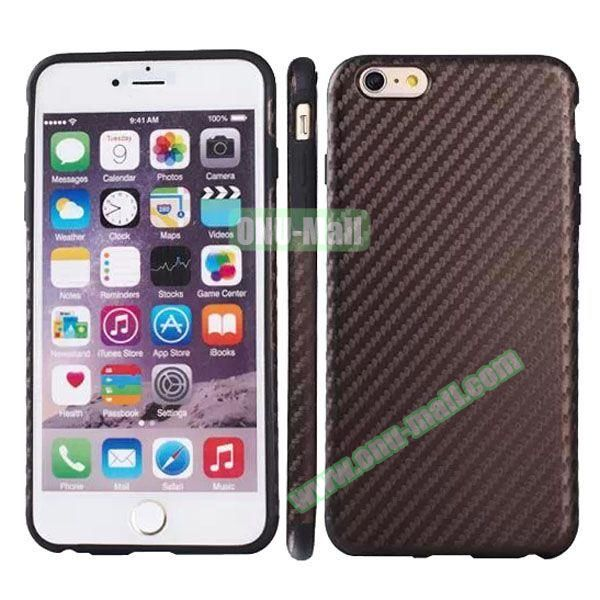 Carbon Fiber Texture Leather Coated TPU Protective Hybrid Case for iPhone 6 4.7 (Grey)
