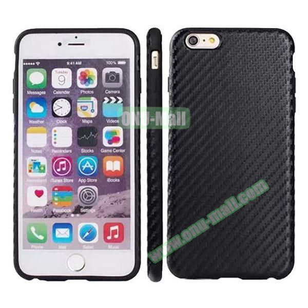 Carbon Fiber Texture Leather Coated TPU Protective Hybrid Case for iPhone 6 4.7 (Black)