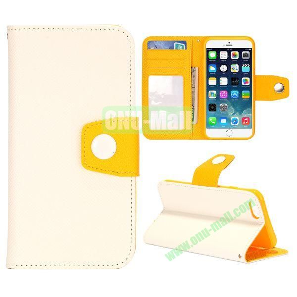Dual-color Wallet Leather Case Cover for iPhone 6 with TPU Inside Case and Card Slots 4.7 inch (White+Yellow)