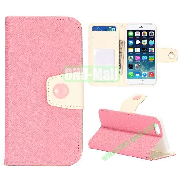 Dual-color Wallet Leather Case Cover for iPhone 6 with TPU Inside Case and Card Slots 4.7 inch (Pink+White)