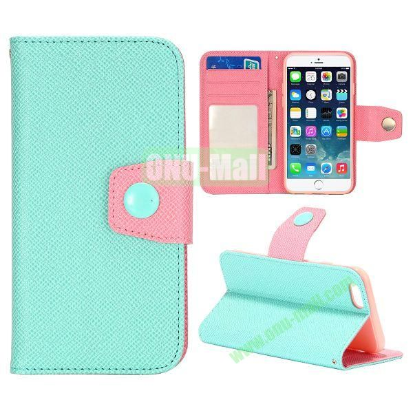 Dual-color Wallet Leather Case Cover for iPhone 6 with TPU Inside Case and Card Slots 4.7 inch (Light Blue+pink)