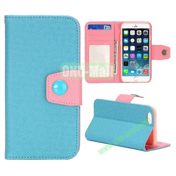 Dual-color Wallet Leather Case Cover for iPhone 6 with TPU Inside Case and Card Slots 4.7 inch (Blue+Pink)
