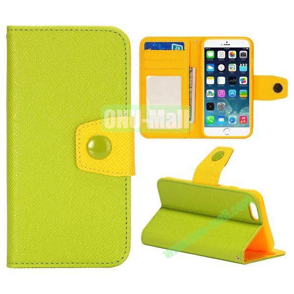 Dual-color Wallet Leather Case Cover for iPhone 6 with TPU Inside Case and Card Slots 4.7 inch (Green+Yellow)