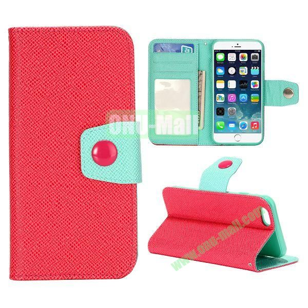 Dual-color Wallet Leather Case Cover for iPhone 6 with TPU Inside Case and Card Slots 4.7 inch (Red+Blue)