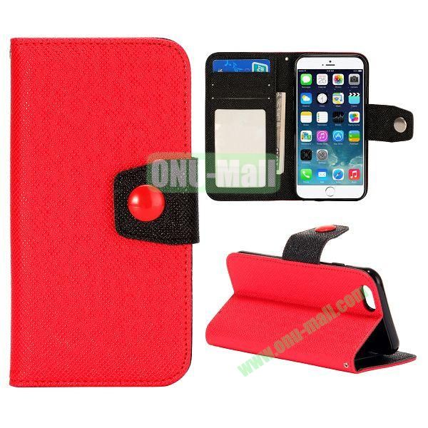 Dual-color Wallet Leather Case Cover for iPhone 6 with TPU Inside Case and Card Slots 4.7 inch (Red+Black)