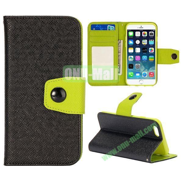 Dual-color Wallet Leather Case Cover for iPhone 6 with TPU Inside Case and Card Slots 4.7 inch (Black+Green)