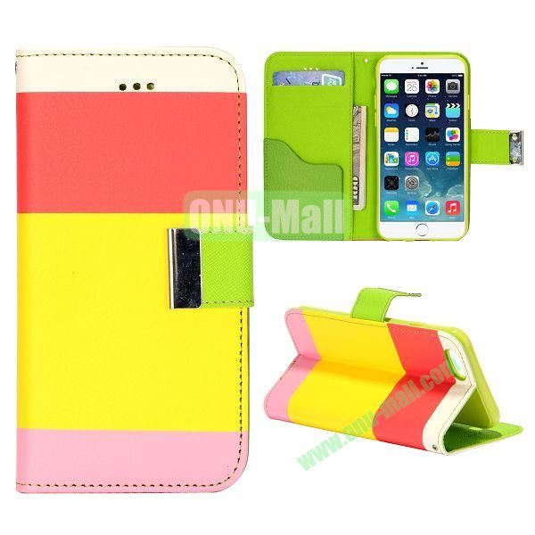Mixed Color Magnetic Flip PU Leather Case Cover with TPU Inside and Card Slots for iPhone 6 4.7 inch (Red+Yellow+Pink)