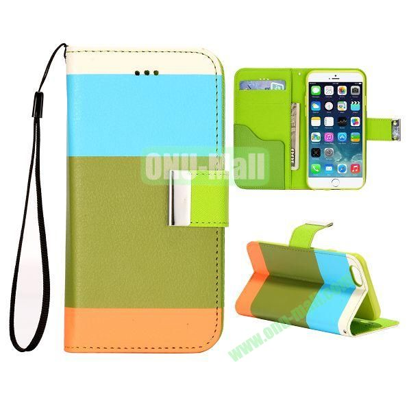 Mixed Color Magnetic Flip PU Leather Case Cover with TPU Inside and Card Slots for iPhone 6 Plus 5.5 inch (Blue+Green+Orange)