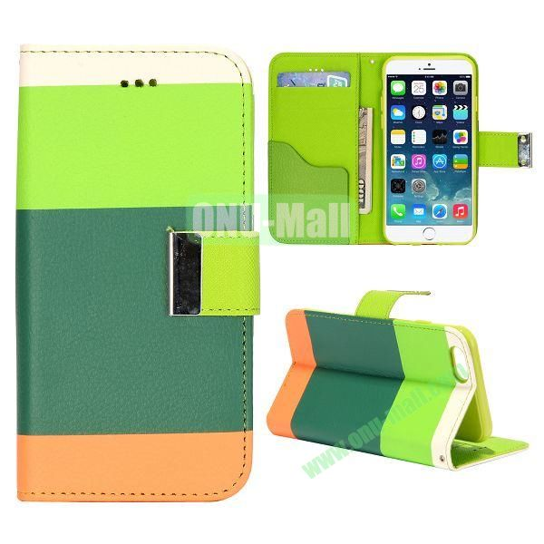 Mixed Color Magnetic Flip PU Leather Case Cover with TPU Inside and Card Slots for iPhone 6 4.7 inch (Green+Dark blue+Orange)