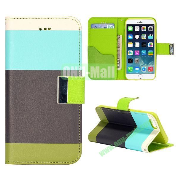 Mixed Color Magnetic Flip PU Leather Case Cover with TPU Inside and Card Slots for iPhone 6 4.7 inch ( Blue+Black+Green)