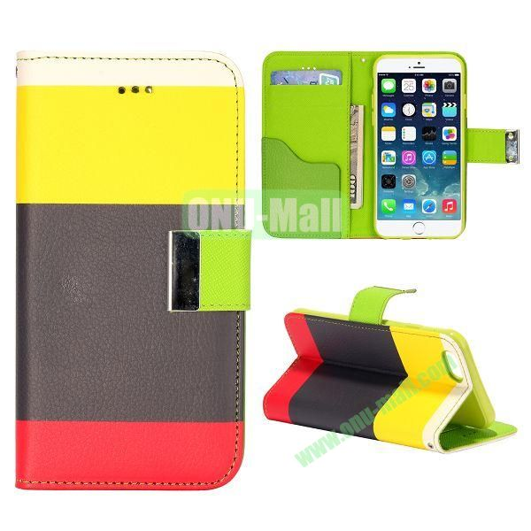 Mixed Color Magnetic Flip PU Leather Case Cover with TPU Inside and Card Slots for iPhone 6 Plus 5.5 inch (Yellow+Black+Red)