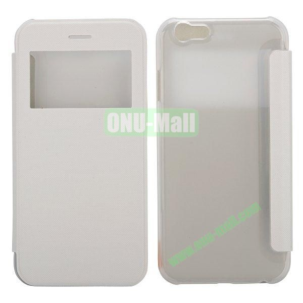 Caller ID Display Window Leather + Transparent Hard Case for iPhone 6 4.7 inch (White)