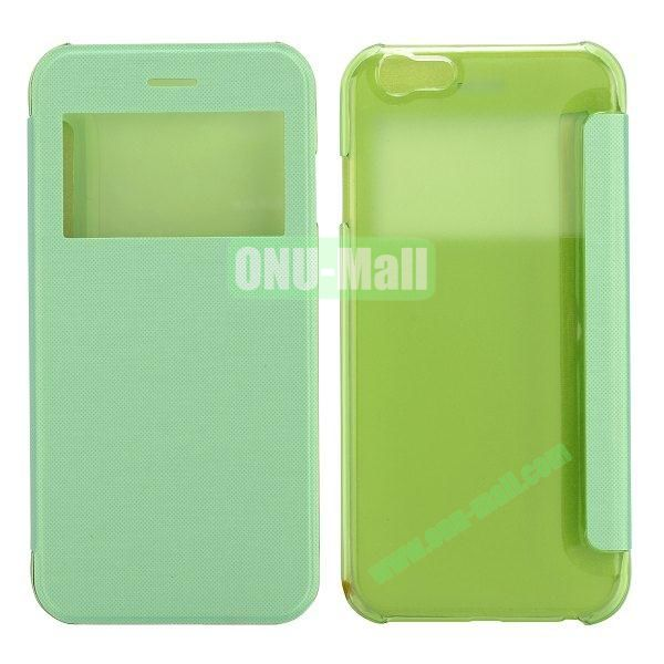 Caller ID Display Window Leather + Transparent Hard Case for iPhone 6 Plus 5.5 inch (Green)