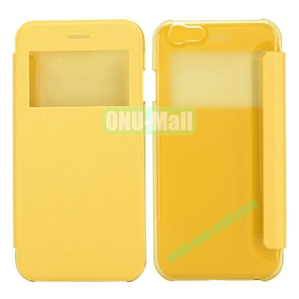 Caller ID Display Window Leather + Transparent Hard Case for iPhone 6 Plus 5.5 inch (Yellow)