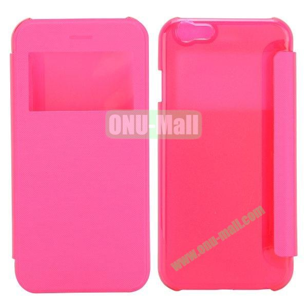 Caller ID Display Window Leather + Transparent Hard Case for iPhone 6 Plus 5.5 inch (Rose)