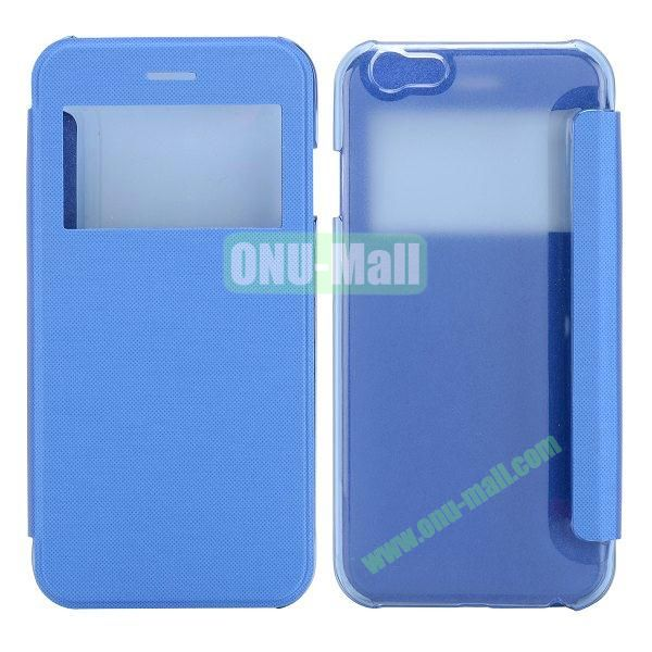 Caller ID Display Window Leather + Transparent Hard Case for iPhone 6 Plus 5.5 inch (Blue)