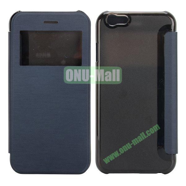 Caller ID Display Window Leather + Transparent Hard Case for iPhone 6 4.7 inch (Dark Blue)
