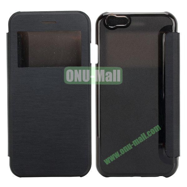 Caller ID Display Window Leather + Transparent Hard Case for iPhone 6 Plus 5.5 inch (Black)
