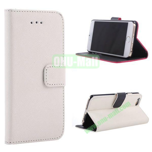 New Arrival  Cross Texture Flip Leather Case for iPhone 6 Plus 5.5 inch (White)