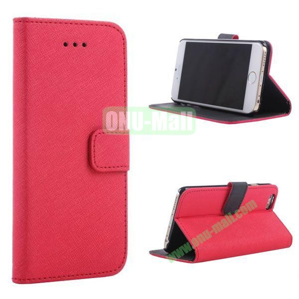 New Arrival  Cross Texture Flip Leather Case for iPhone 6 Plus 5.5 inch (Red)