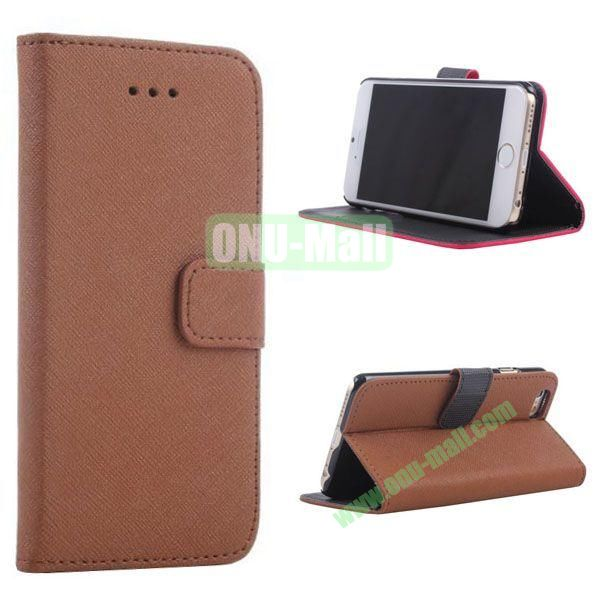 New Arrival  Cross Texture Flip Leather Case for iPhone 6 Plus 5.5 inch (Brown)