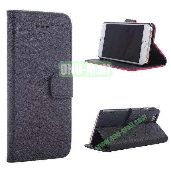 New Arrival  Cross Texture Flip Leather Case for iPhone 6 Plus 5.5 inch (Black)
