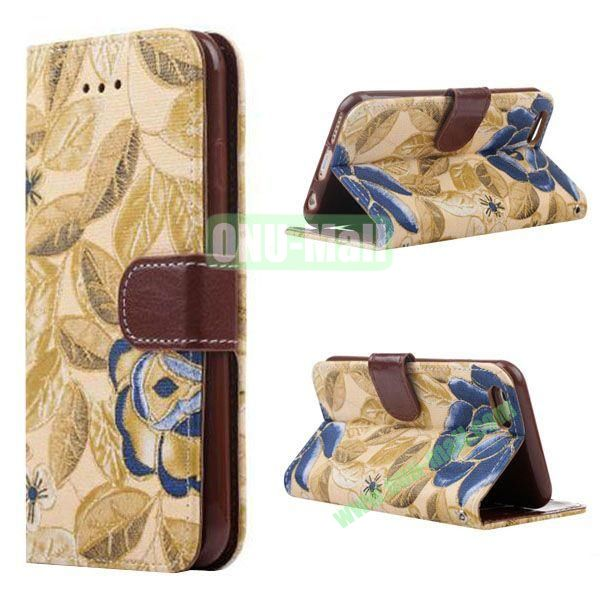 Flowers Pattern Flip TPU + PU Leather Case for iPhone 6 Plus 5.5 inch with Card Slots and Hand Strap (Yellow)