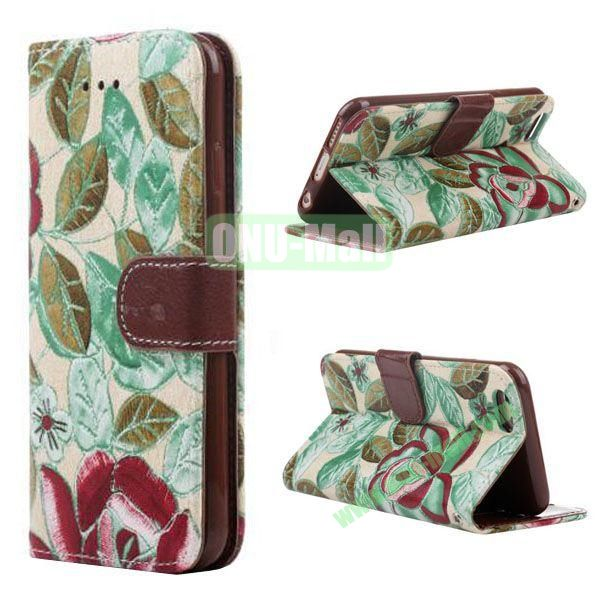 Flowers Pattern Flip TPU + PU Leather Case for iPhone 6 with Card Slots and Hand Strap 4.7 inch (Green)