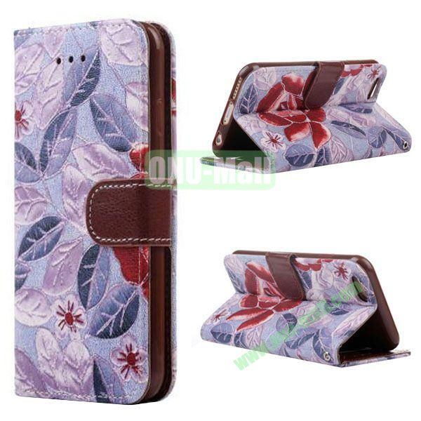 Flowers Pattern Flip TPU + PU Leather Case for iPhone 6 Plus 5.5 inch with Card Slots and Hand Strap (Purple)