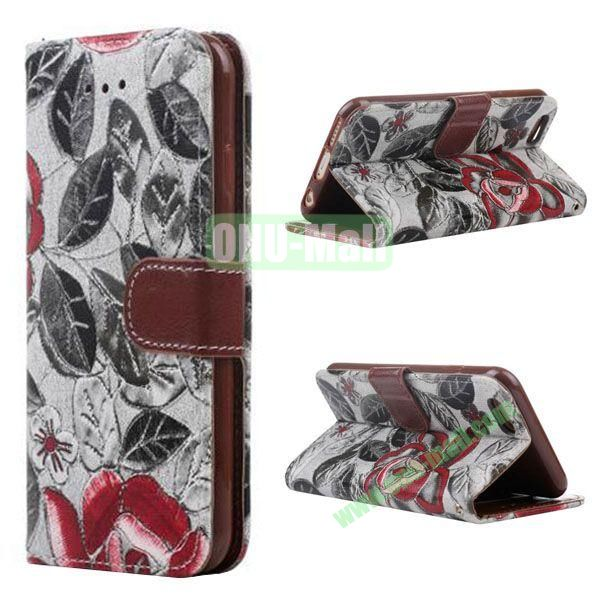 Flowers Pattern Flip TPU + PU Leather Case for iPhone 6 Plus 5.5 inch with Card Slots and Hand Strap (Black)