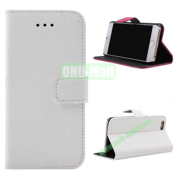 Litchi Texture Wallet Style Leather Case for iPhone 6 Plus 5.5 inch (White)