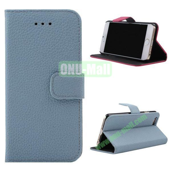 Litchi Texture Wallet Style Leather Case for iPhone 6 Plus 5.5 inch (Light Blue)