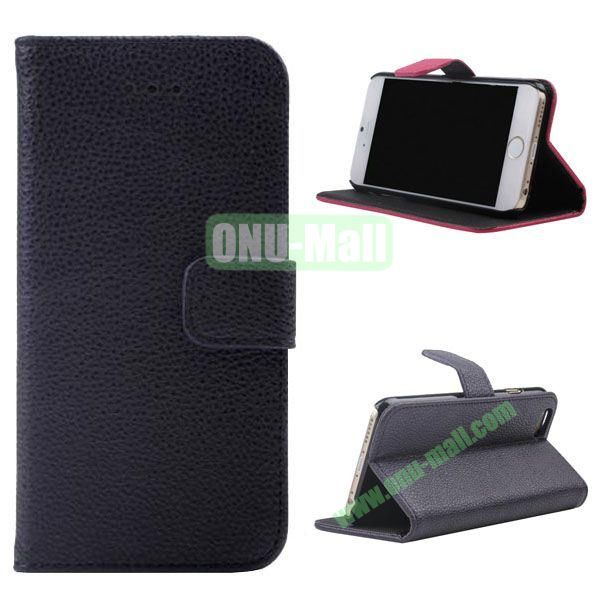Litchi Texture Wallet Style Leather Case for iPhone 6 Plus 5.5 inch (Dark Blue)