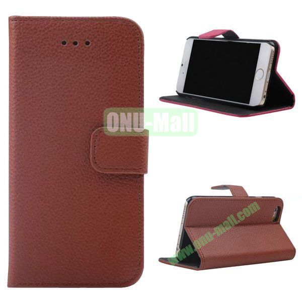 Litchi Texture Wallet Style Leather Case for iPhone 6 Plus 5.5 inch (Brown)
