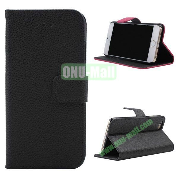 Litchi Texture Wallet Style Leather Case for iPhone 6 Plus 5.5 inch (Black)