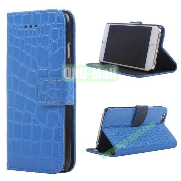Crocodile Texture Wallet Style Leather Case for iPhone 6 4.7 inch (Blue)