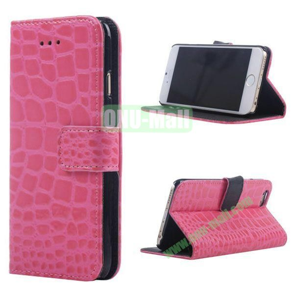 Crocodile Texture Wallet Style Leather Case for iPhone 6 4.7 inch (Rose)