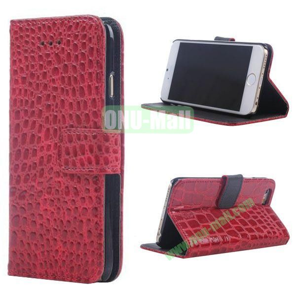 Crocodile Texture Wallet Style Leather Case for iPhone 6 4.7 inch (Red)