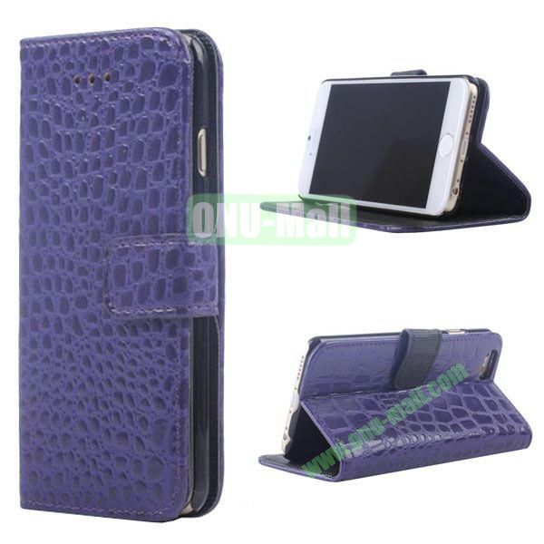 Crocodile Texture Wallet Style Leather Case for iPhone 6 4.7 inch (Purple)