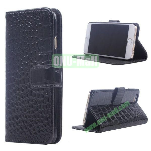 Crocodile Texture Wallet Style Leather Case for iPhone 6 4.7 inch (Black)