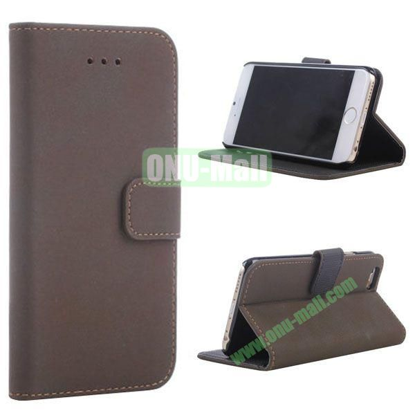 Retro Style Wallet Design Leather Case for iPhone 6 Plus 5.5 inch (Dark Brown)