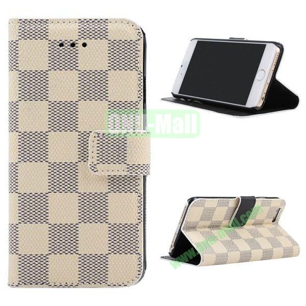 Grid Pattern Leather Case for iPhone 6 Plus 5.5 inch with Card Slots (White)