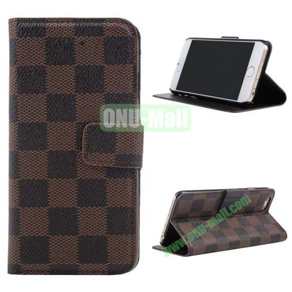 Grid Pattern Leather Case for iPhone 6 with Card Slots 4.7 inch (Brown)