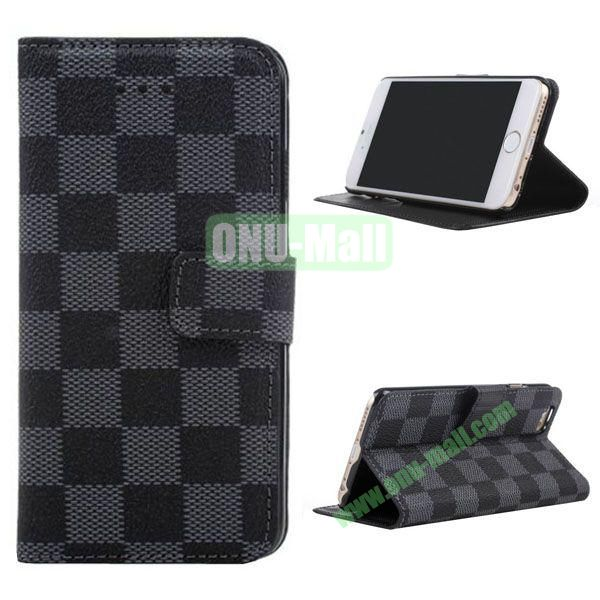 Grid Pattern Leather Case for iPhone 6 Plus 5.5 inch with Card Slots (Black)