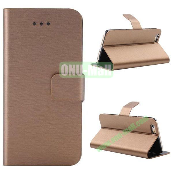 Wire Drawing Texture Leather Case for iPhone 6 Plus 5.5 inch with Card Slots (Gold)
